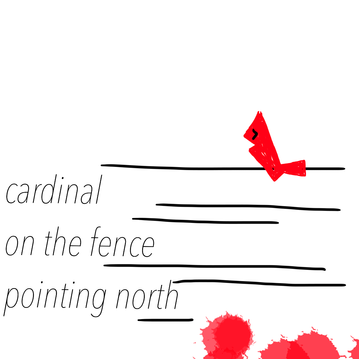 cardinal on the fence pointing north